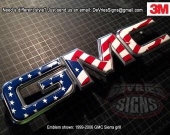 DOMED GMC Sierra 2007+ emblem overlays (includes classic, 1500, 2500, HD,  Denali)
