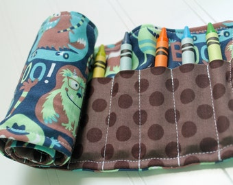 Little Monsters Crayon Roll with Button and Elastic Closure-- Boo!