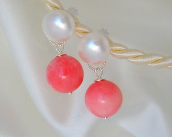 Salmon-red coral Pearl ear studs earrings