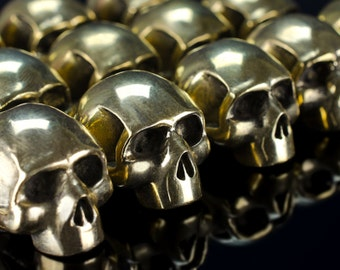 Paracord beads - Paracord skull beads of bronze. Big, heavy beads are handmade with unique designs!