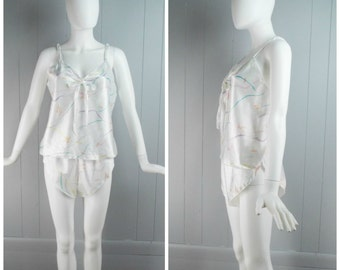 Vintage Womens 1980s Two Piece Tank + Shorts Satin Pajama Set | Size M/L