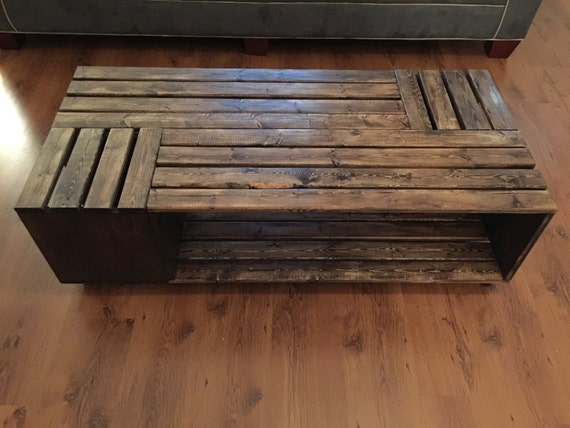 crate style coffee table made with hardwood rectangular style