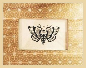 Moth illuminati screen print design. Bio paper water based ink Bohemian style art