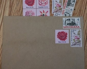 vintage postage--assorted set--posts 5 letters