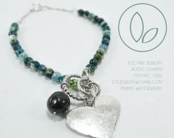 Jade Bead & Silver Charm Bracelet