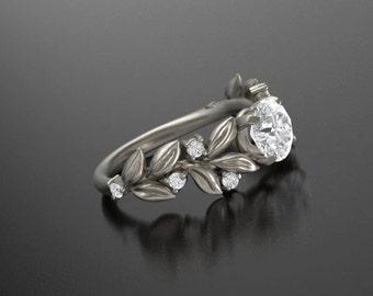 Leaf Engagement ring, White Gold 14k,Moissanite Engagement ring, Nature inspired Diamond Leaf ring, Leaf Gold ring,Bridal ring, RI-1230