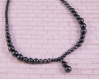 Faux Pearl Necklace, Charcoal Colored, Faux Pearl Earrings, Jewelry Set, Handmade Necklace, Handmade Earrings, Handmade Jewelry