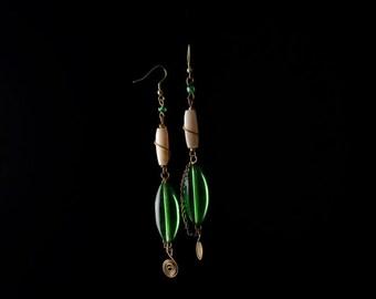 Green and White Beaded Earrings