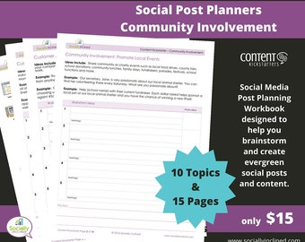 Social Media Planner - Community Spotlight Social Post Planner - 15 Pages & 10 Topics to create evergreen social media content.