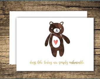 an unbearable day - sympathy card, grief card, bereavement card