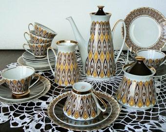Vintage Porcelain Espresso Coffee Set for 6 persons, Ornamental decor, Riga