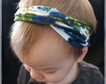 Blue and Green floral turban baby headband