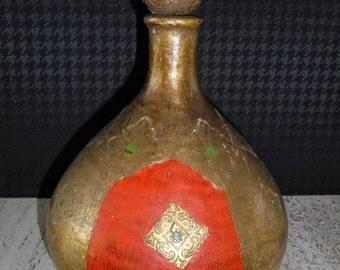 Vintage Florentine Gilt Glass Bottle with Stopper