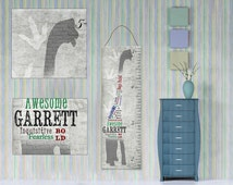 Boys Personalized Dinosaur Growth Chart Canvas with Word Art or Subway Art