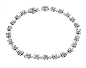 3.25 Carat Diamond Cluster Flower Bracelet 18K White Gold