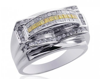 1.25 Carat Mens Princess Cut Yellow and White Diamond Ring 14K White Gold
