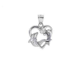 Dolphin Heart Pendant 14K White Gold