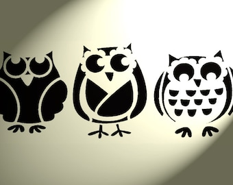 3 x Owls Shabby Chic Stencil Rustic Vintage style A4 297x210mm Wall fabric Mylar