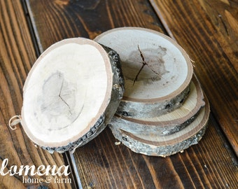 Birch Coasters Set of 4, Rustic Coasters, Wood Coasters, Rustic Wedding, Rustic Christmas, Coasters, Drink Coasters, Rustic Birch Coasters