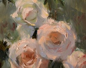 """Original Oil Painting; White and Pink Rose #4 - 8""""x6"""""""