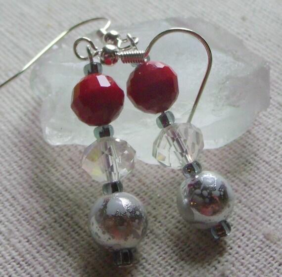 red crystal ball dangle earrings, clear crystal jewley, christmas design, holiday earrings, silver ball earrings, festive earrings,gift