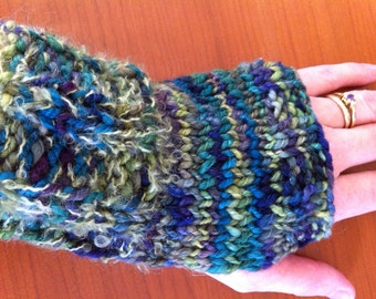 SALE: Greens & Blues Fingerless Gloves