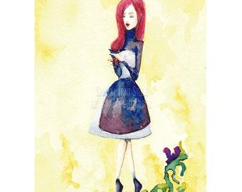 Walking In A Daydream - Watercolor - Digital Download - Printable - Home Decor - Art Print - Redhead - Blue dress - Fantasy