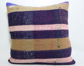 natural pillow large size bedding pillow 24x24 multicolor pillow turkish kilim pillow Striped kilim pillow handwoven kilim pillow SP6060-562