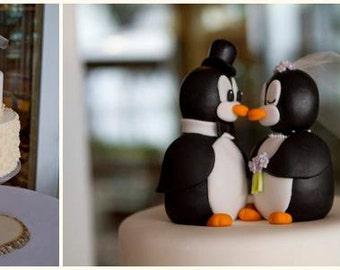 Kissing Penquins In Love Wedding Cake Topper