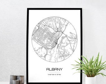 Albany Map Print - City Map Art of Albany New York Poster - Coordinates Wall Art Gift - Travel Map - Office Home Decor