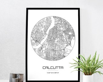Calcutta Map Print - City Map Art of Calcutta India Poster - Coordinates Wall Art Gift - Travel Map - Office Home Decor