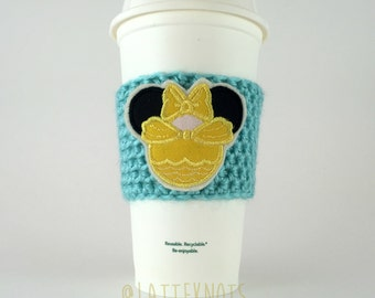 Princess Belle Coffee Cup Cozy / Crochet Coffee Sleeve / Reusable Cozie / Customizable