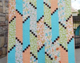Handmade Modern Lap Quilt, Green Turquoise Orange Quilt, Flora Quilt