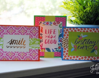 Boho Tropical Variety Card Set B - Set of 3 - Blank Note Cards