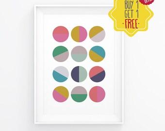 Printable polka dots, Colorful polka poster, Polka wall decor, Scandinavian art, Abstract colorful poster, Geometry print, Dots Circles art