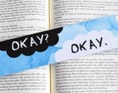 The Fault In Our Stars 'OKAY' Quote Watercolour Bookmark