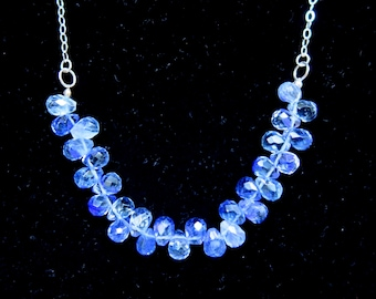 Blue Glass Briolette Necklace with Sterling Silver