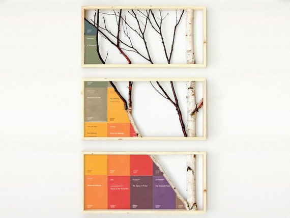 broken Semiotexte grid in Birch Branch Triptych Pine Framed