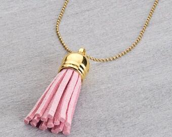 Brass chain with pink tassel