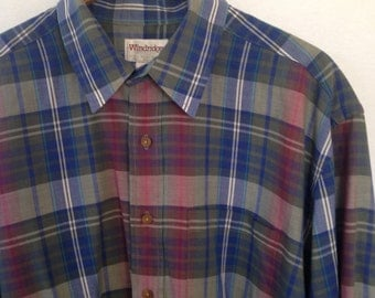 plaid button front shirt by Windridge
