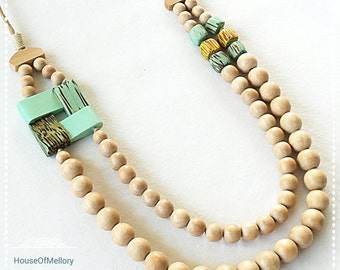 Simple Natural Earthy Multi Strand Wooden Bead Necklace