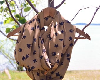 Light Weight Bird in Flight Infinity Scarf