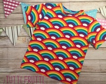 Rainbow T-Shirt | Festival Wear | Unisex Top | Summer T-Shirt | Jersey Knit Fabric | Bespoke Baby Clothes