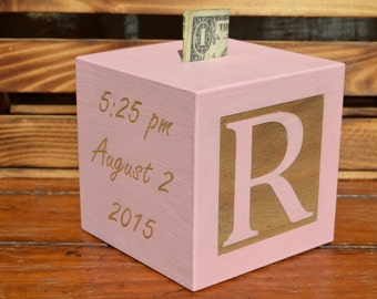 Hand painted Baby Bank Personalized Baby Gift Newborn Baby Gift Personalized Baby Gift Wooden Baby Block Piggy Bank