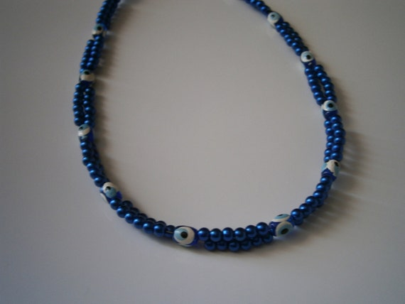 "Beaded Necklace: Blue ""Evil Eye"" Double Standed Beaded Necklace."