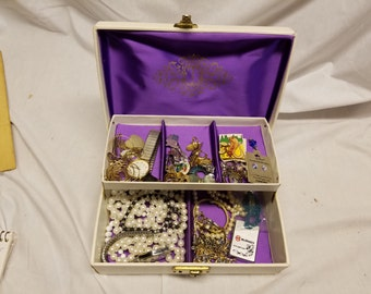 White Jewelry box with jewelry and costume jewelry