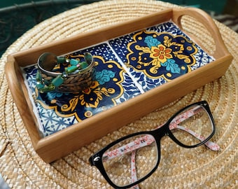 Small wood tray with turquoise Mexican Talavera tile