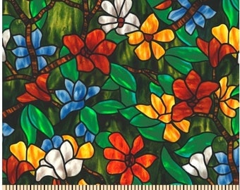 Creative Springs Fabric STAINED GLASS FLOWERS  100% Cotton Quilt Shop Quality  1 yd