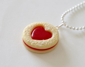 Linzer Jam Sandwich Cookie Necklace - Polymer Clay Miniature Food Jewelry