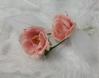 Soft Pink Rose Corsage and Boutonniere